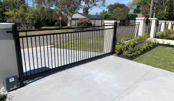 Black tubular security fencing